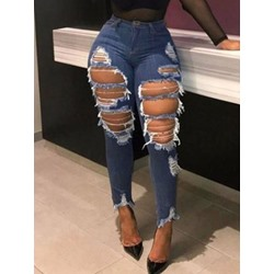 Hole Pencil Pants Women's Jeans