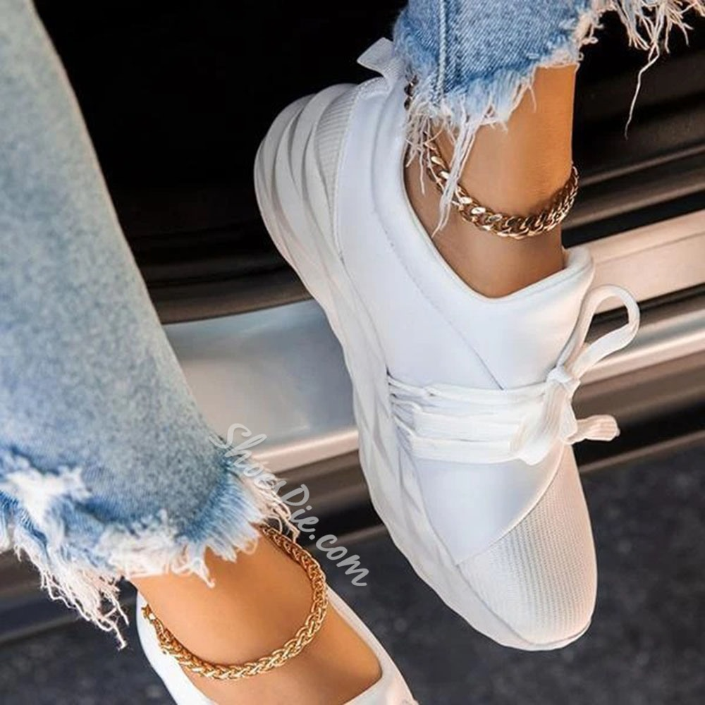 Shoespie Stylish Lace-Up Slip-On Round Toe Casual Thin Shoes