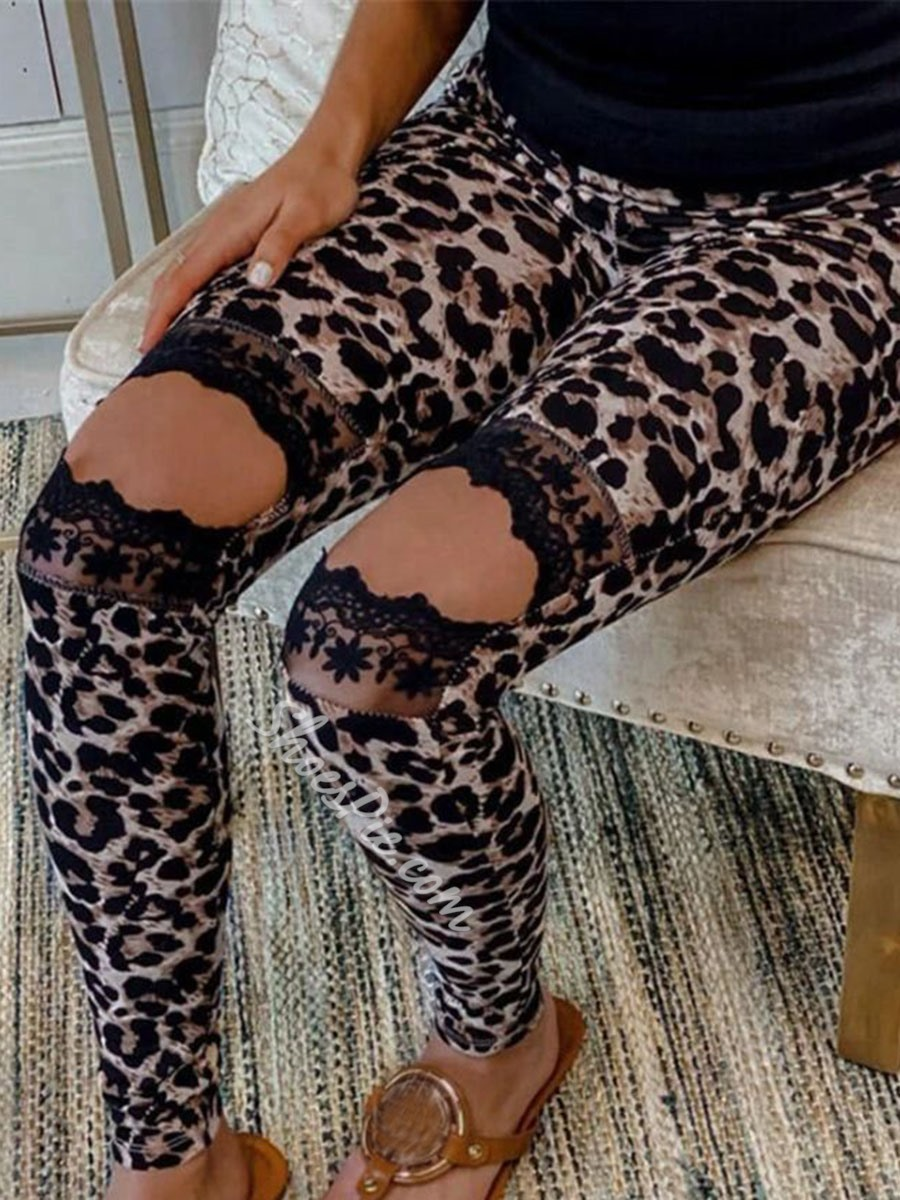 Lace Skinny Camouflage Ankle Length Women's Casual Pants