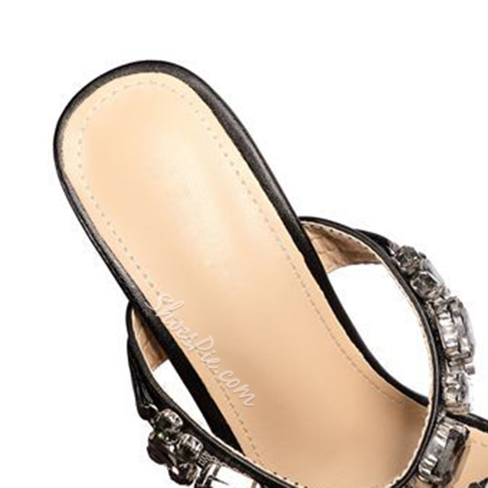 Shoespie Stylish Slip-On Rhinestone Flip Flop Western Slippers