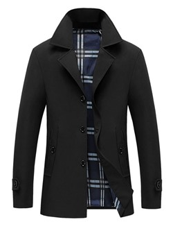 Mid-Length Plain Button Fall Casual Trench Coat