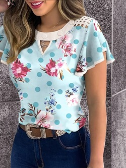 Floral Round Neck Standard Summer Women's T-Shirt