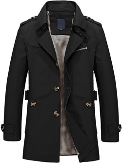 Lapel Mid-Length Plain Straight Single-Breasted Trench Coat