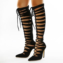 Shoespie Sexy Stiletto Heel Lace-Up Front Plain Western Boots
