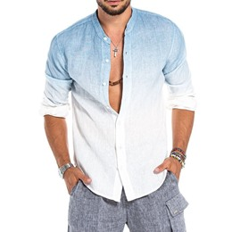 Stand Collar Gradient England Single-Breasted Loose Shirt
