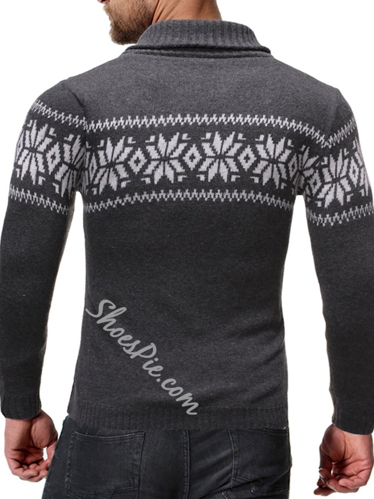 Print Lapel Standard Casual Slim Sweater