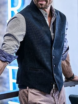 Plain Stand Collar Single-Breasted Fall Waistcoat