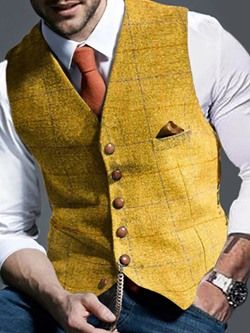 V-Neck Plaid Fall European Waistcoat