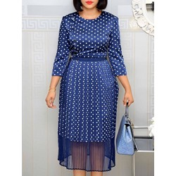 Three-Quarter Sleeve Round Neck Pleated Polka Dots Women's Dress