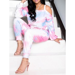 Tie-Dye Gradient Casual Pullover Women's Two Piece Sets