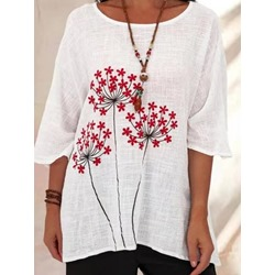 Print Floral Round Neck Three-Quarter Sleeve Women's Blouse