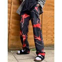 Print Straight Zipper Mid Waist Casual Pants