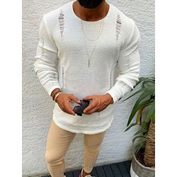 Plain Hollow Round Neck European Slim Sweater