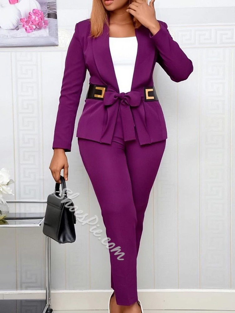 Lace-Up Simple Jacket Lace-Up Women's Two Piece Sets