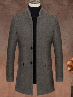Stand Collar Mid-Length Plain Single-Breasted Slim Coat
