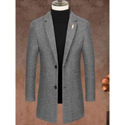 Stripe Pocket Mid-Length Korean Single-Breasted Coat