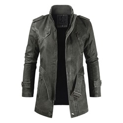 Plain Mid-Length Stand Collar Fall Zipper Leather Jacket