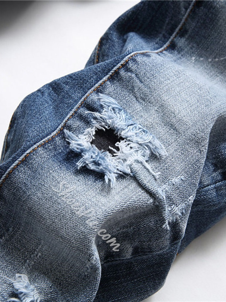 Hole Number Straight Button European Jeans