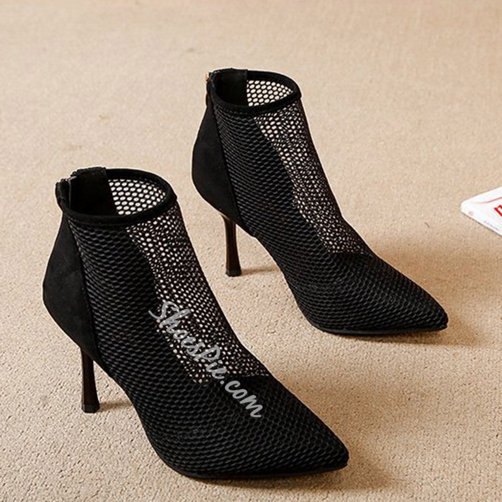 Shoespie Trendy Plain Back Zip Pointed Toe Mesh Boots