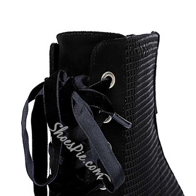 Shoespie Sexy Plain Pointed Toe Lace-Up Front Cotton Boots