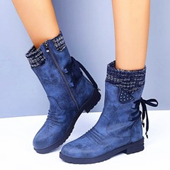 Shoespie Stylish Block Heel Round Toe Patchwork Microfiber Boots