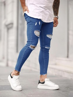 Plain Thin Pencil Pants Zipper European Jeans