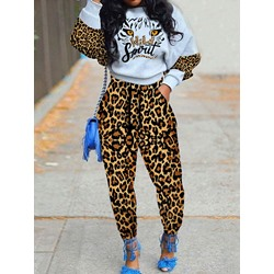 Lace-Up Simple Leopard Pullover Women's Two Piece Sets