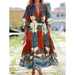 Mid-Calf Three-Quarter Sleeve Print High Waist Women's Dress
