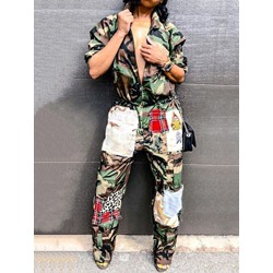 Western Camouflage Pants Zipper Women's Two Piece Sets