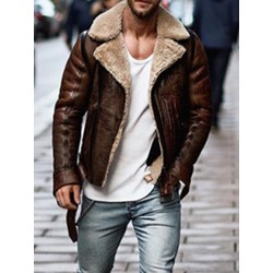 Lapel Standard Color Block Zipper Slim Leather Jacket