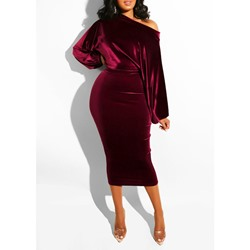 Oblique Collar Mid-Calf Long Sleeve Mid Waist Women's Dress