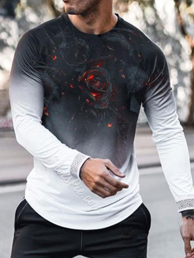 Casual Floral Round Neck Long Sleeve Slim T-shirt