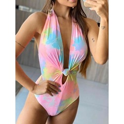 Tie Dye Gradient One Piece Print Women's Swimwear
