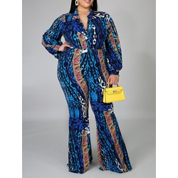 Full Length Fashion Print Bellbottoms Women's Jumpsuit