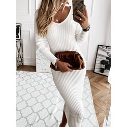 Long Sleeve V-Neck Mid-Calf Spring Women's Dress