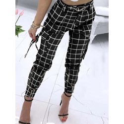 Slim Plaid Zipper Pencil Pants Women's Casual Pants