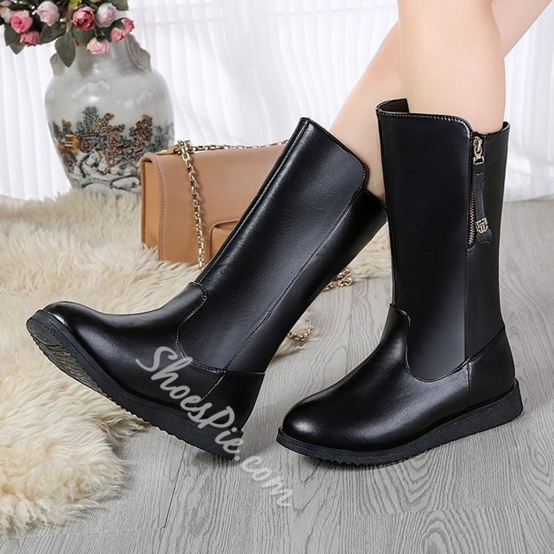 Shoespie Trendy Flat With Round Toe Plain Zipper Boots
