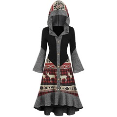 Hooded Print Long Sleeve Regular Women's Dress