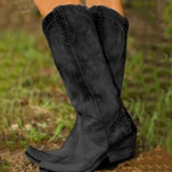 Shoespie Trendy Slip-On Round Toe Chunky Heel Western Boots