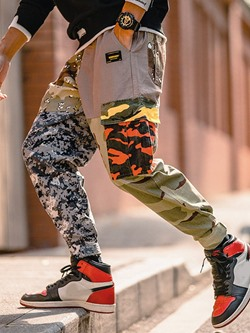 Pocket Camouflage Lace-Up Casual Casual Pants
