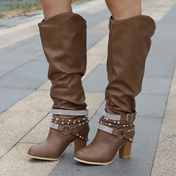 Shoespie Sexy Round Toe Chunky Heel Slip-On Buckle Boots