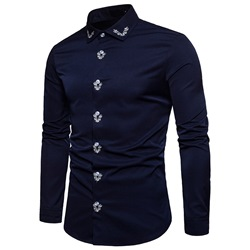 Embroidery Lapel European Single-Breasted Slim Shirt