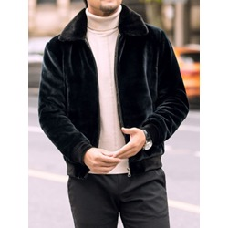 Plain Thick Patchwork Winter Casual Jacket