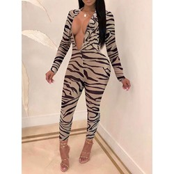 Leopard Sexy Ankle Length Pencil Pants Women's Jumpsuit