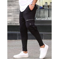 Plain Pencil Pants Pocket Mid Waist Casual Casual Pants