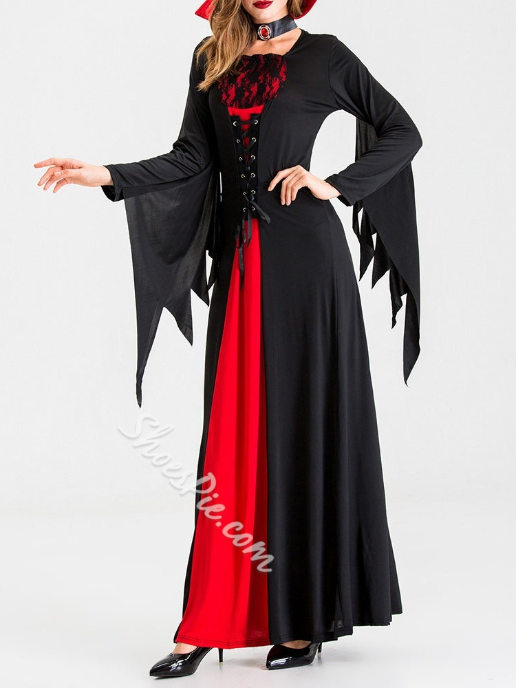 Lace-Up Long Sleeve Color Block Classic Halloween Women's Costumes