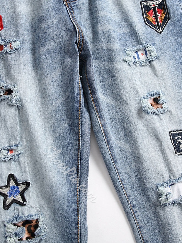 Number Appliques Straight Casual Zipper Jeans