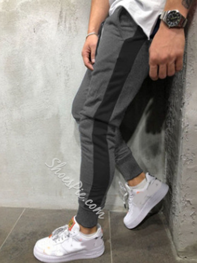 Pencil Pants Color Block Patchwork Mid Waist Casual Casual Pants