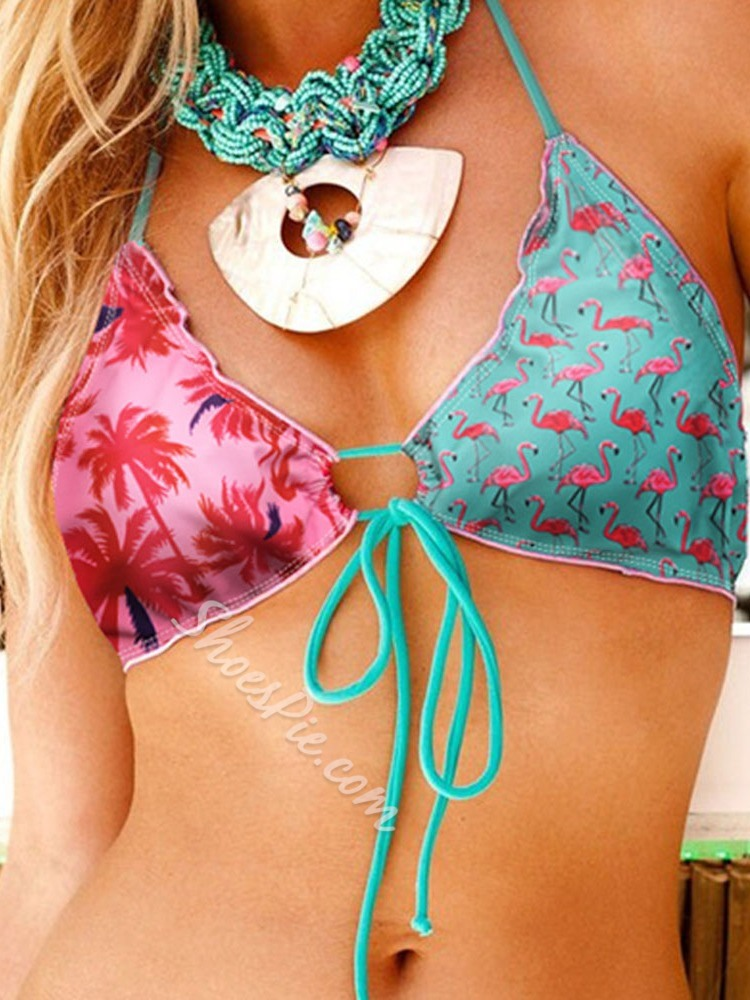 Sexy Print Color Block Women's Swimwear