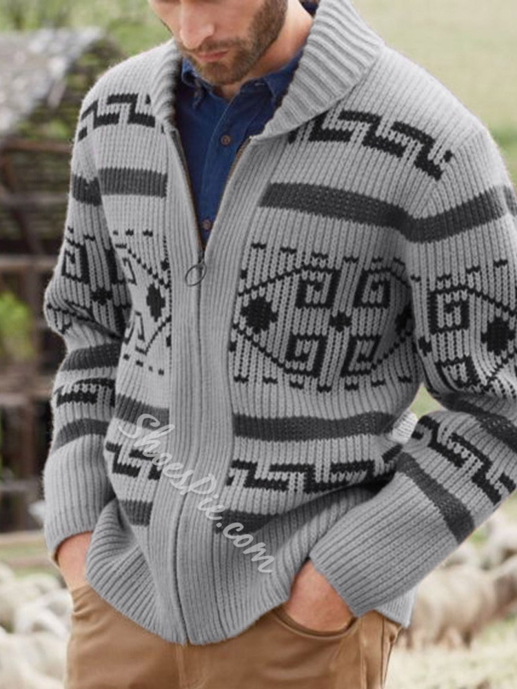 Standard Geometric Zipper Casual Sweater